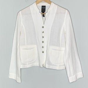 Eileen Fisher button down white linen blend jacket